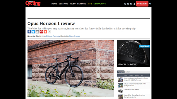 Canadian Cycling reviews Horizon